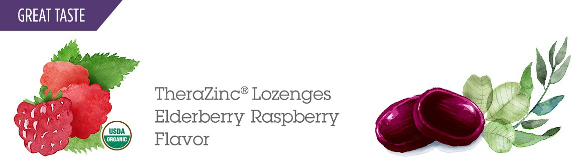 TheraZinc Lozenges Elderberry Raspberry Flavor.