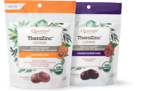 TheraZinc Organic Lozenges in Blood Orange and Elderberry varieties.