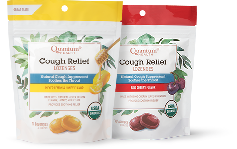 Cough Relief Organic Lozenges in Meyer Lemon and Honey and Bing Cherry flavors.