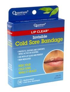 Quantum Health Lip Clear Invisible Cold Sore Bandage box shown at an angle.
