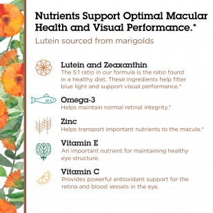 Nutrients support optimal macular health and visual performance. Lutein sourced from marigolds.