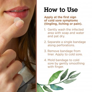 Woman putting a Lip Clear Invisible Cold Sore Bandage on her lip