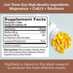 Just 3 key, high quality ingreients: Magnesium, CoQ10, Riboflavin